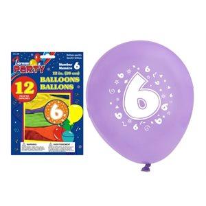 Ballons imprimés ; 30.5cm ; #6 ; emballage de 12 ; couleurs assorties