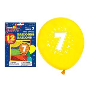 Ballons imprimés ; 30.5cm ; #7 ; emballage de 12 ; couleurs assorties