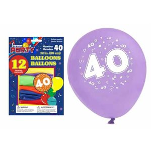 Ballons imprimés ; 30.5cm ; #40 ; emballage de 12 ; couleurs assorties