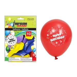 """12"""" printed balloons ; ''Happy Birthday'' ; 10 pack ; assorted colors"""