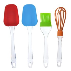 Assorted Display of Silicone whisk spatula brush with clear handles