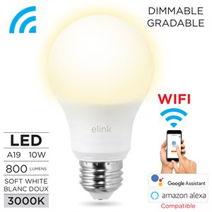 Smart Wi-Fi A19 LED Bulb White, 9W dimmable