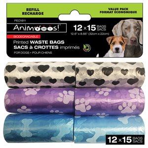 Sacs de déchets biodégradables pour chiens imprimés par 12pk - 15bags / roll - 32x22cm