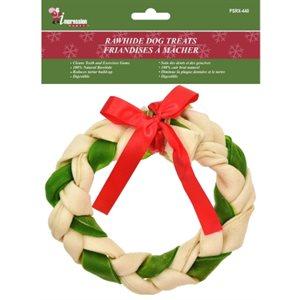 "Christmas rawhide treats ; large braided ring ; 5.1"""