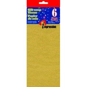 Papier soie ; 50.8x66.04cm ; emballage de 6 feuilles ; Or