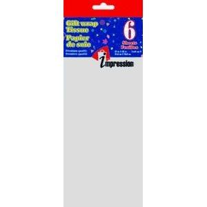 Papier soie ; 50.8x66.04cm ; emballage de 6 feuilles ; Argent