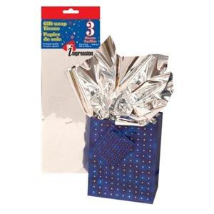 Papier soie métallique ; 50.8x66.04cm ; emballage de 3 feuilles ; Argent